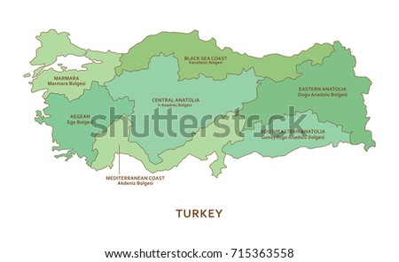 Turkey regions, vector geography background