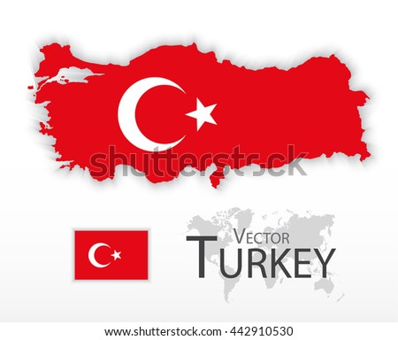 Turkey ( Republic of Turkey ) ( flag and map ) ( transportation and tourism concept ) - stock vector