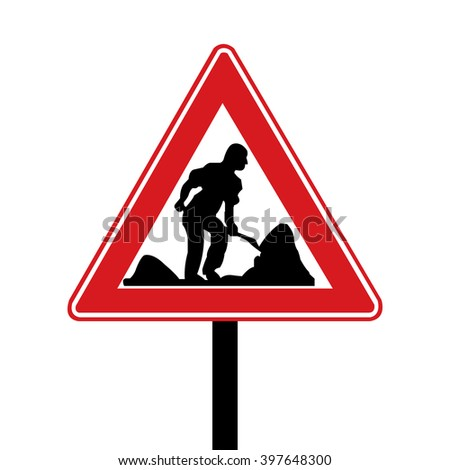 Turkey Roadworks Road Sign - stock vector