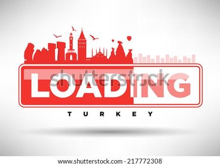 Turkey Skyline Loading Typographic Design - stock vector