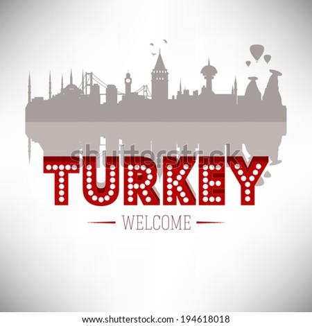 Turkey skyline silhouette design, vector illustration. - stock vector