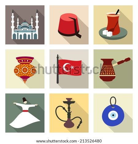 Turkey travel symbols icon set - stock vector