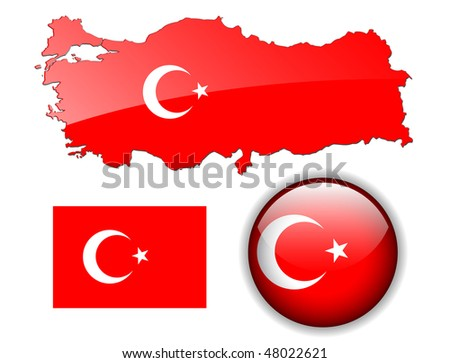 Turkey, Turkish flag, map and glossy button, vector illustration set. - stock vector