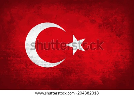 Turkey, Turkish Flag on concrete textured background - stock vector
