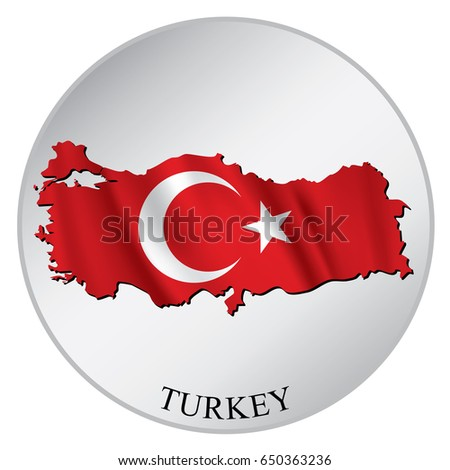 Turkey vector sticker with flag and map label round tag with country name