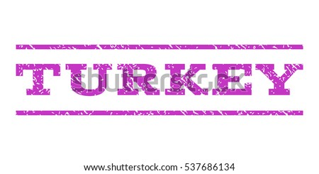 Turkey watermark stamp. Text tag between horizontal parallel lines with grunge design style. Rubber seal stamp with scratched texture. Vector violet color ink imprint on a white background.