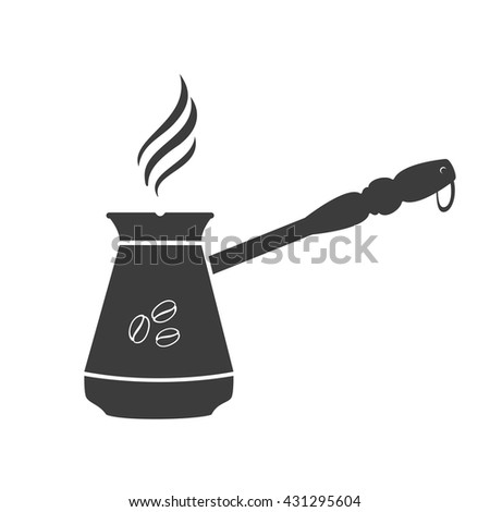 Turkish coffee icon. Turkish coffee Vector isolated on white background. Flat vector illustration in black. EPS 10 - stock vector