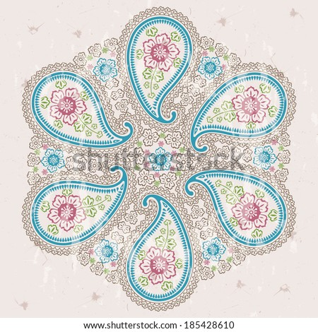 Turkish cucumbers.Oriental motif. Paisley fabric round ornamental frame for fabrics,Wallpaper,background,tableware,kitchen utensils. Pastel color. Vector illustration.Retro style,vintage. - stock vector