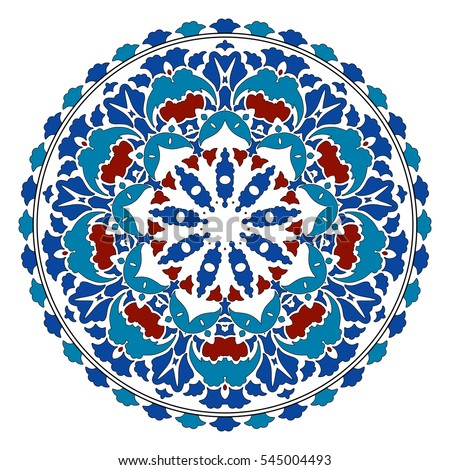 Turkish decorative plate. Islamic floral circle design. Traditional round  turkish ornament. Vector illustration