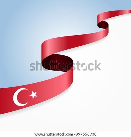 Turkish flag wavy abstract background. Vector illustration. - stock vector