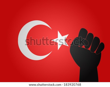 Turkish Flag with Protest Sign EPS10 - stock vector