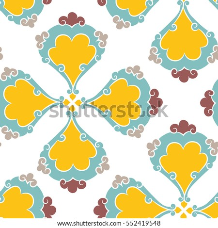 Turkish Iznik tile, vector and seamless islamic pattern with pretty oriental curves and floral details, digital hand drawn symmetric tile design