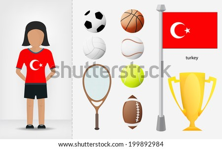Turkish sportswoman with sport equipment collection vector illustration - stock vector