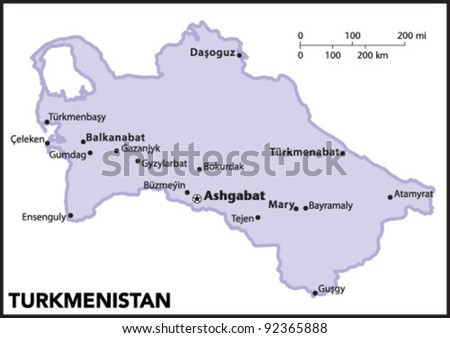 Turkmenistan map stock images royalty free images vectors turkmenistan country map sciox Image collections