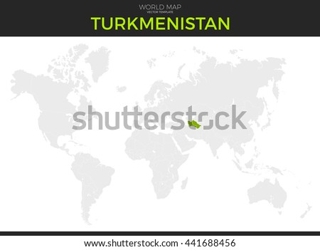 Turkmenistan Location Modern Detailed Vector Map Stock Vector