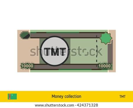 Turkmenistan manat. Turkmenistan manat banknote - stock vector