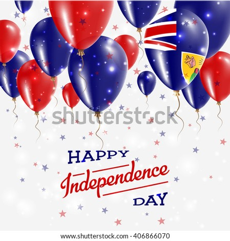 Turks and Caicos Islands Independence Day Celebration Balloons. Flying Rubber Celebration Balloons in Colors of the Turks and Caicos Islands National Flag. - stock vector