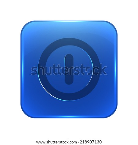 Turn off icon - glossy blue button - stock vector
