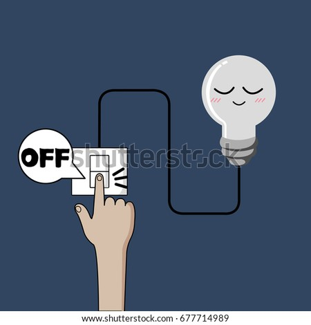 Turn Off Light Finger Turning Off Stock Vector 677714989