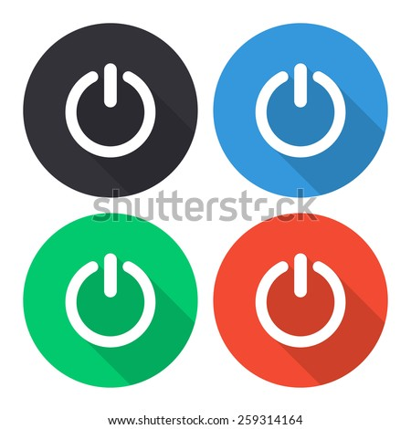 Turn off vector icon - colored(gray, blue, green, red) round buttons with long shadow - stock vector