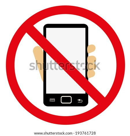 TURN OFF YOUR MOBILE, NO CELL PHONE SIGN illustration vector - stock vector