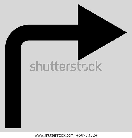 Turn Right vector icon. Style is flat icon symbol, black color, light gray background.