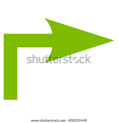 Turn Right vector icon. Style is flat icon symbol, eco green color, white background.