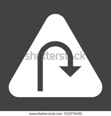 Turn, road, sign icon vector image. Can also be used for traffic signs. Suitable for web apps, mobile apps and print media. - stock vector