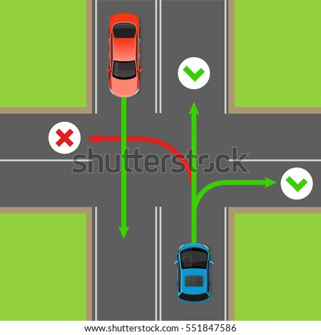 Turn Rules On Fourway Intersection Flat Stock Vector 2018
