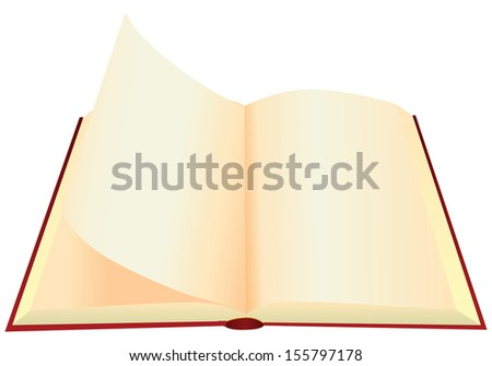 Turn the pages of an old book with blank pages. Vector illustration. - stock vector