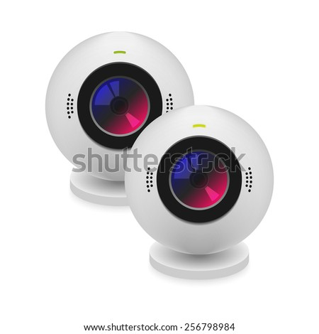 Turned on and turned off webcam with stereo microphone - stock vector