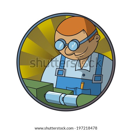 Turner makes the item on the machine - stock vector