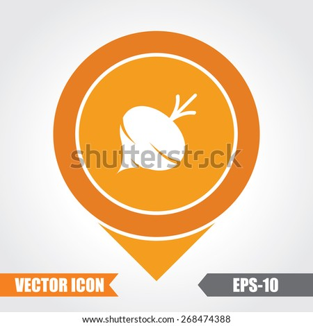 Turnip Icon On Map Pointer. Eps.-10. - stock vector