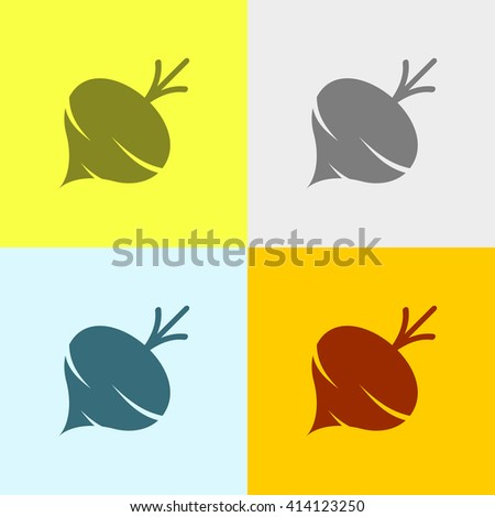 Turnip or Beet Icon on Four Different Backgrounds. Eps-10. - stock vector