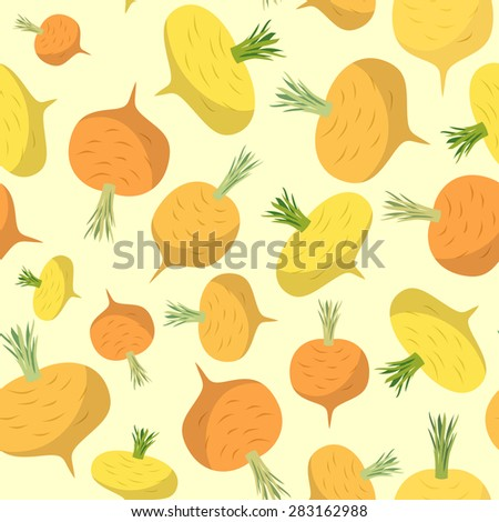 Turnip seamless pattern. Vegetable vector background ripe turnip