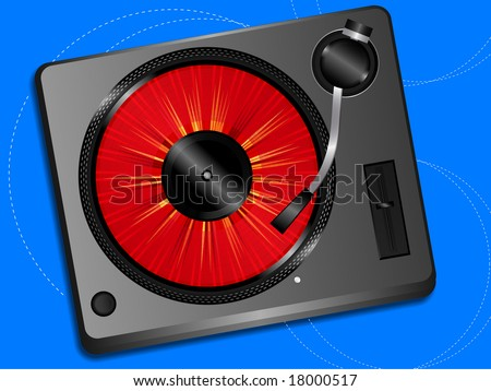 Turntable and picture disk vector illustration