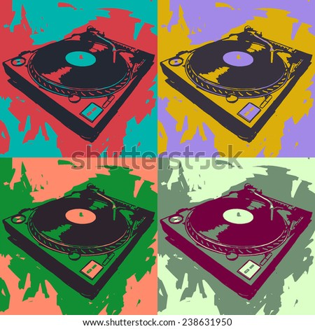 Turntable vector graphic art in different colors - stock vector