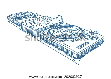 Turntables and dj mixer drawing isolated on white background