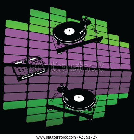 Turntables on a music background vector - stock vector