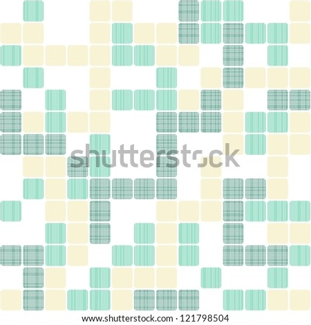 turquoise and beige little squares on white seamless geometric pattern - stock vector