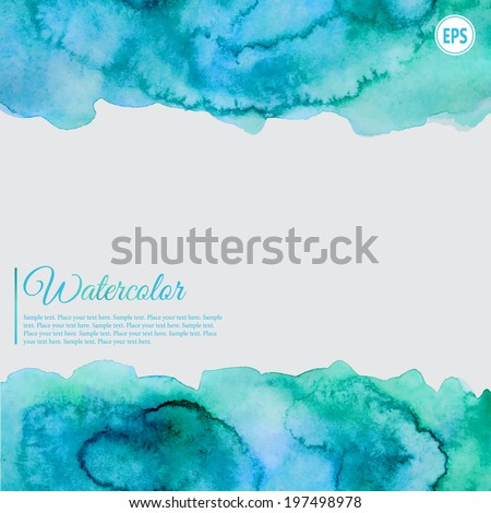 Turquoise and blue watercolor abstract frame with splash - stock vector