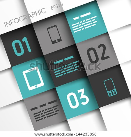 turquoise and grey infographic squares with mobile icons. infographic concept. - stock vector