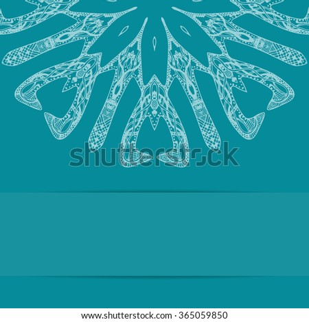 Turquoise blue card with ornate pattern and copy space - stock vector