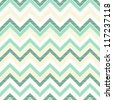 turquoise chevron on light beige retro seamless pattern - stock vector