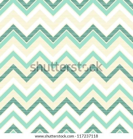 turquoise chevron on light beige retro seamless pattern - stock vector