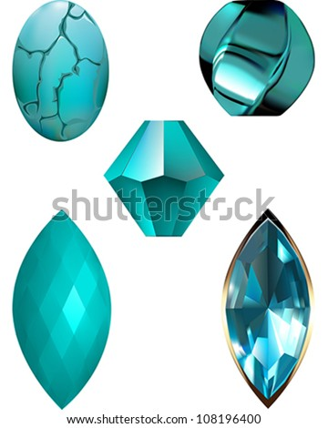 Turquoise Gem and Bead vector illustrations