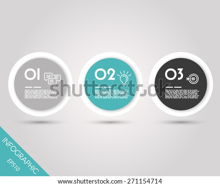 turquoise infographic rings with border. infographic concept. - stock vector