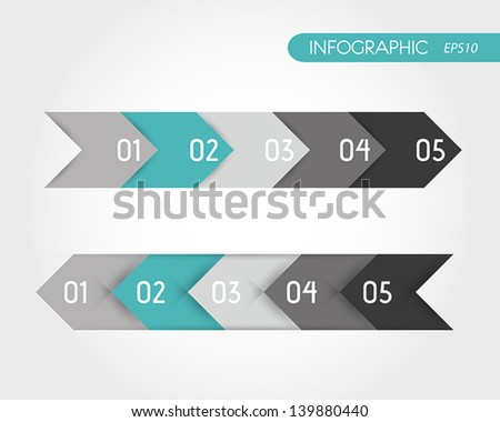 turquoise infographics set of arrows. infographic concept. - stock vector