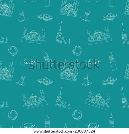 Turquoise Istanbul tourist vector seamless pattern - stock vector