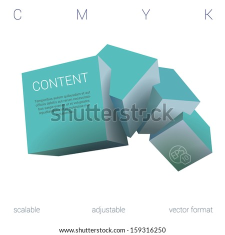 Turquoise - light blue edition of a scalable adjustable  3d vector abstract geometric composition of four, three dimensional squares in empty space as a web design element or for universal use  - stock vector